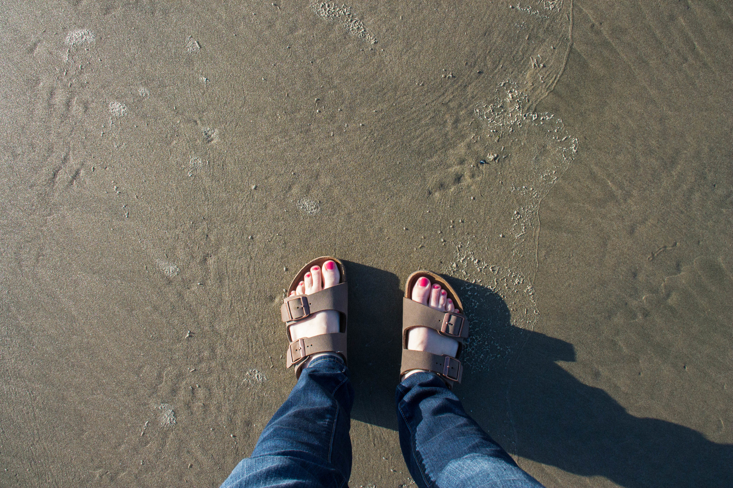 My pasty toes see a beach for the first time in years