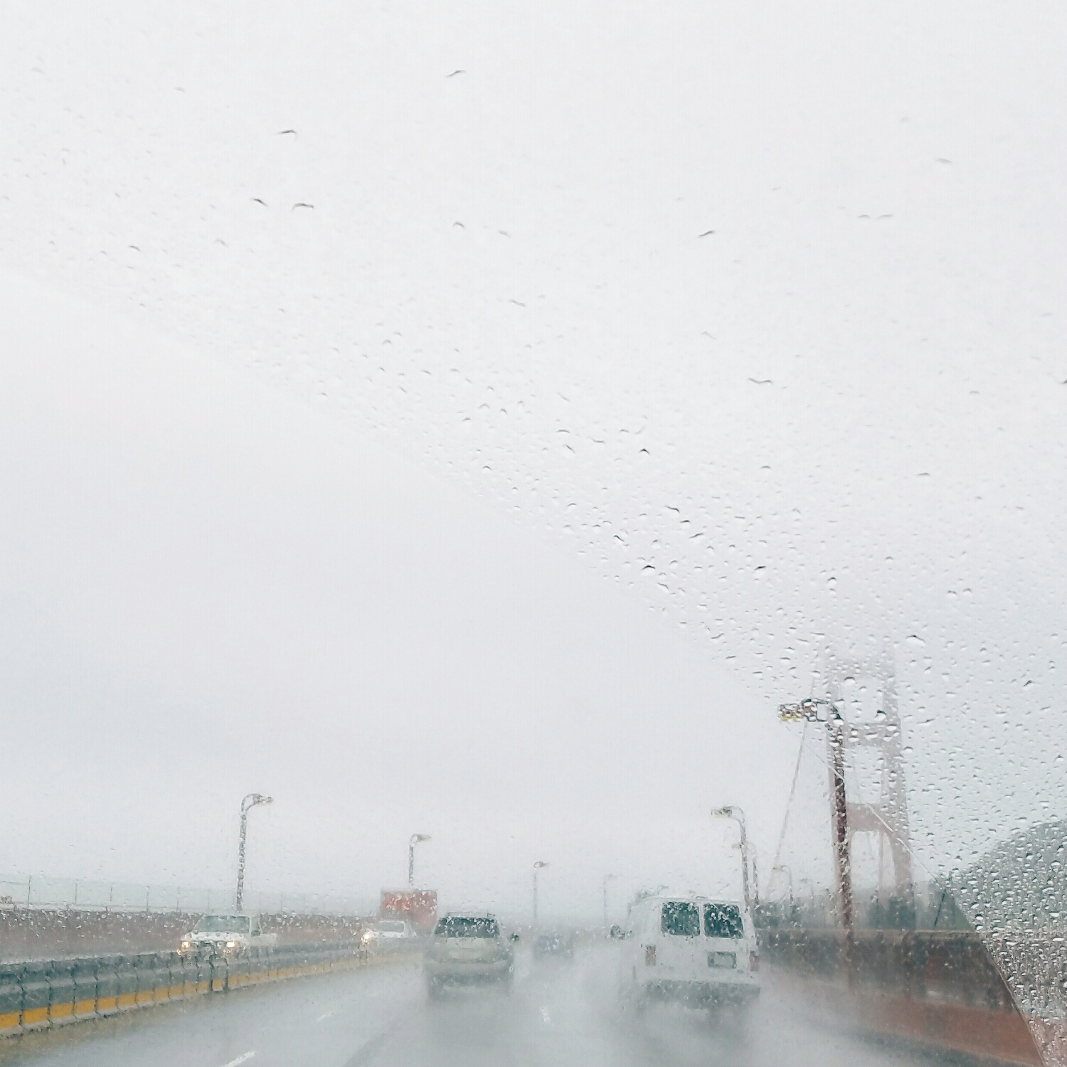 A brief glimpse of the Golden Gate bridge through the rain on our way into the city for a day full of meetings