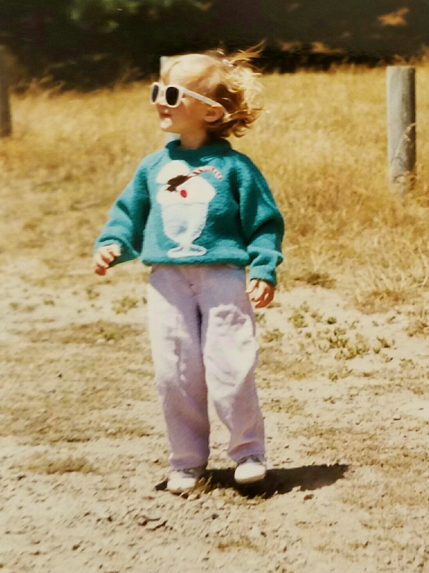 My sister in her ice cream sweater almost 30 years ago