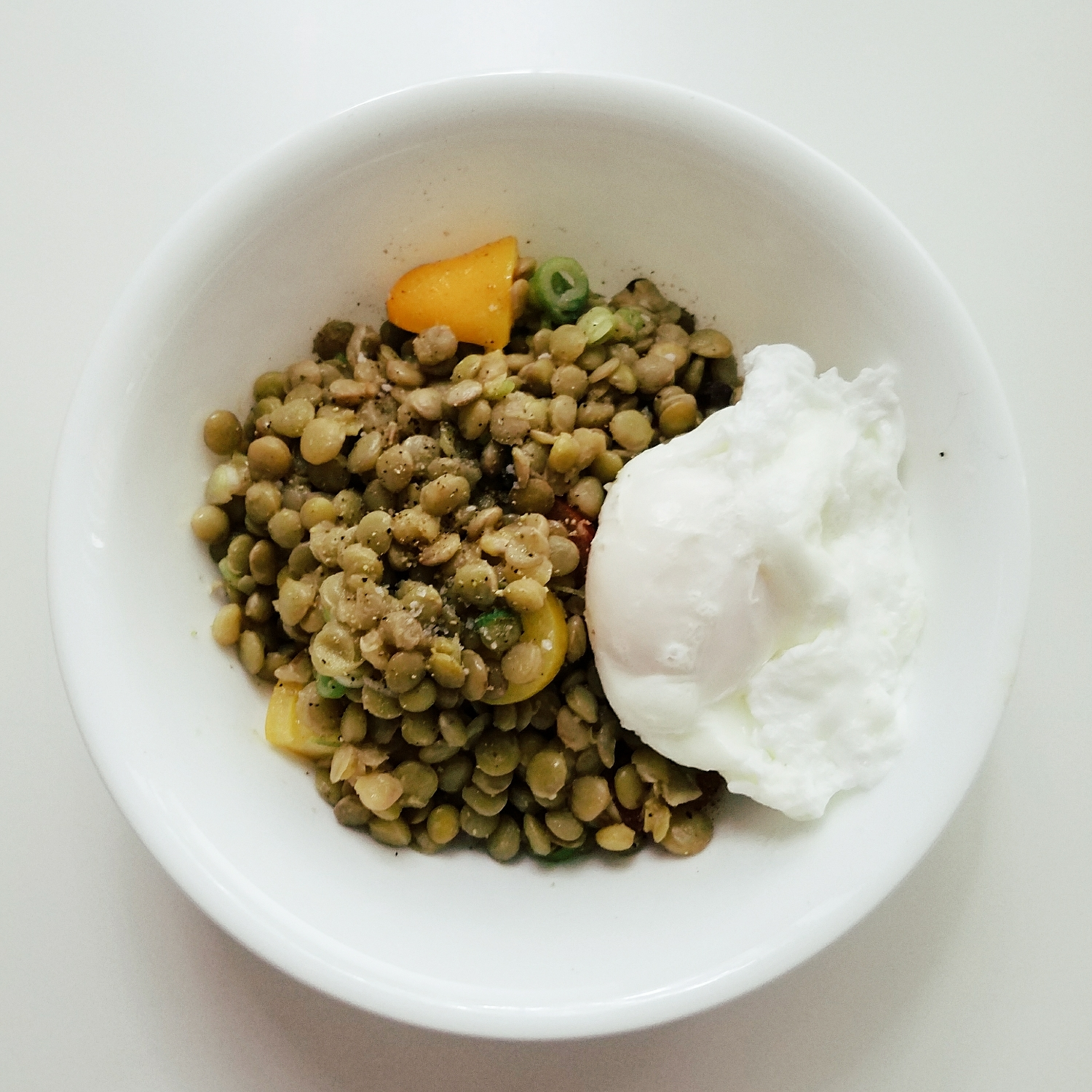 Made a giant batch of lentils for lunch, and topped with a poached egg. Everything is better with a poached egg!