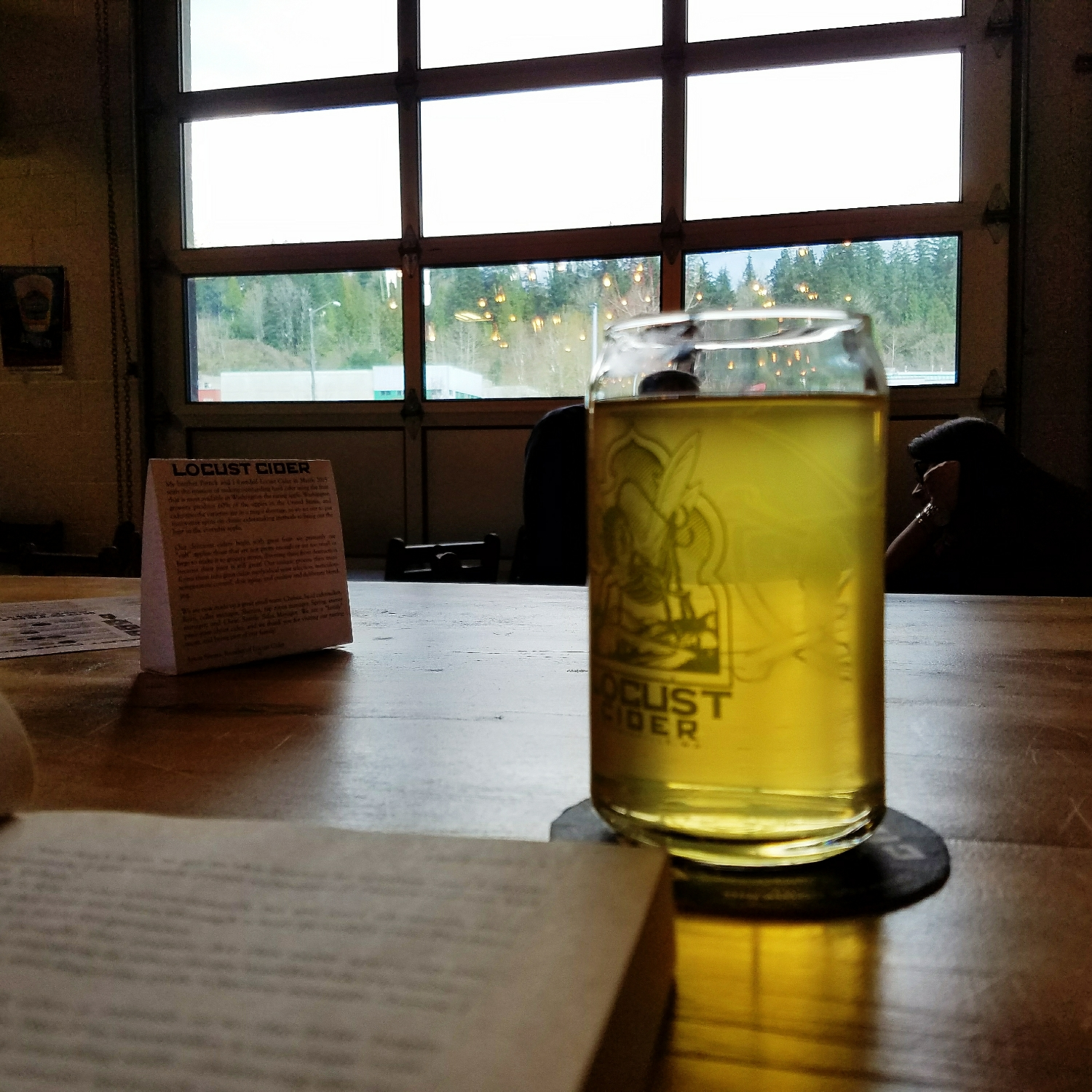 Reading and enjoying cider from the source in the almost-sunshine at a local cidery!