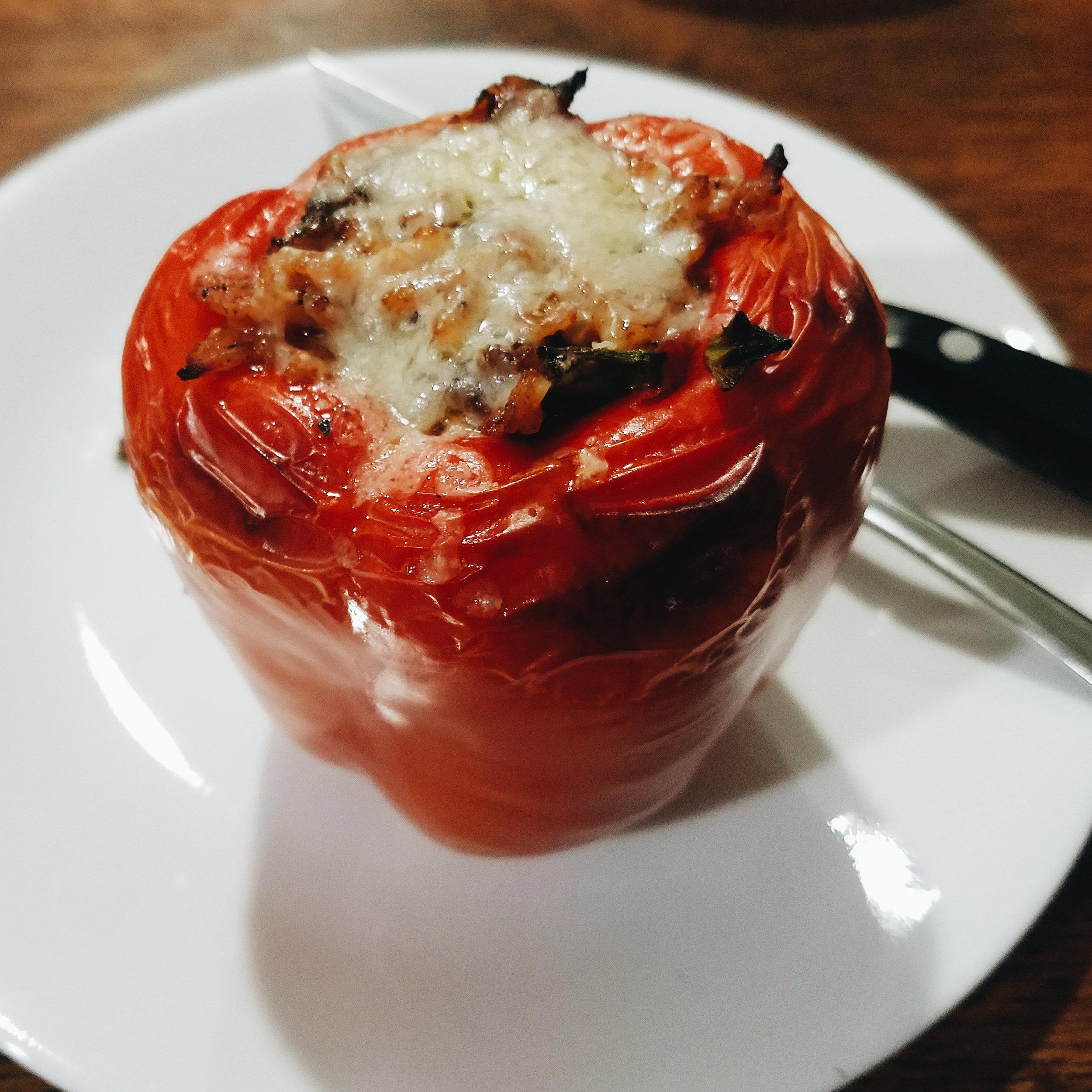 I improvised stuffed peppers for dinner this week after seeing them in an REI catalog