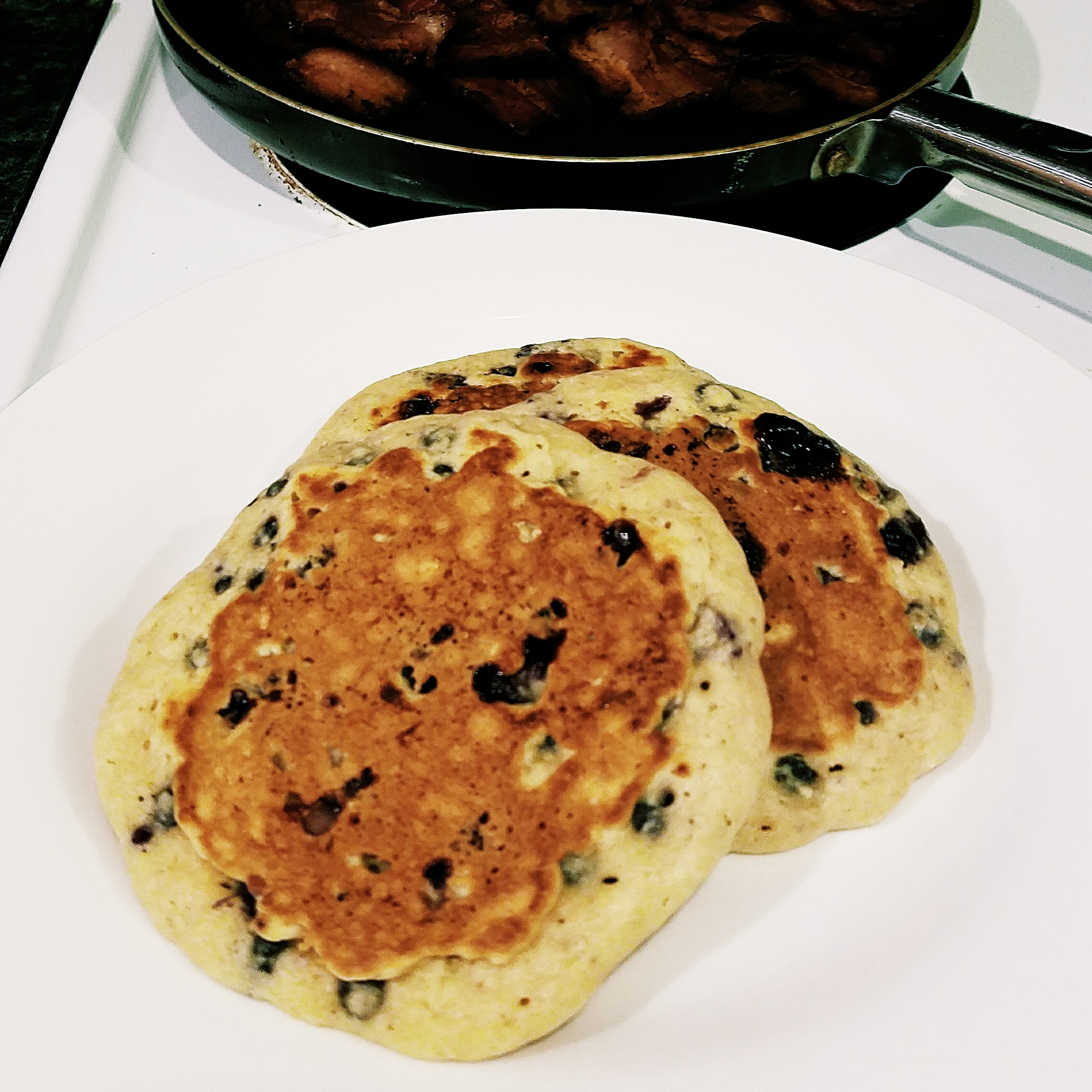 Also threw a handful of blueberries into Saturday morning pancakes. Probably my favorite way to eat blueberries!
