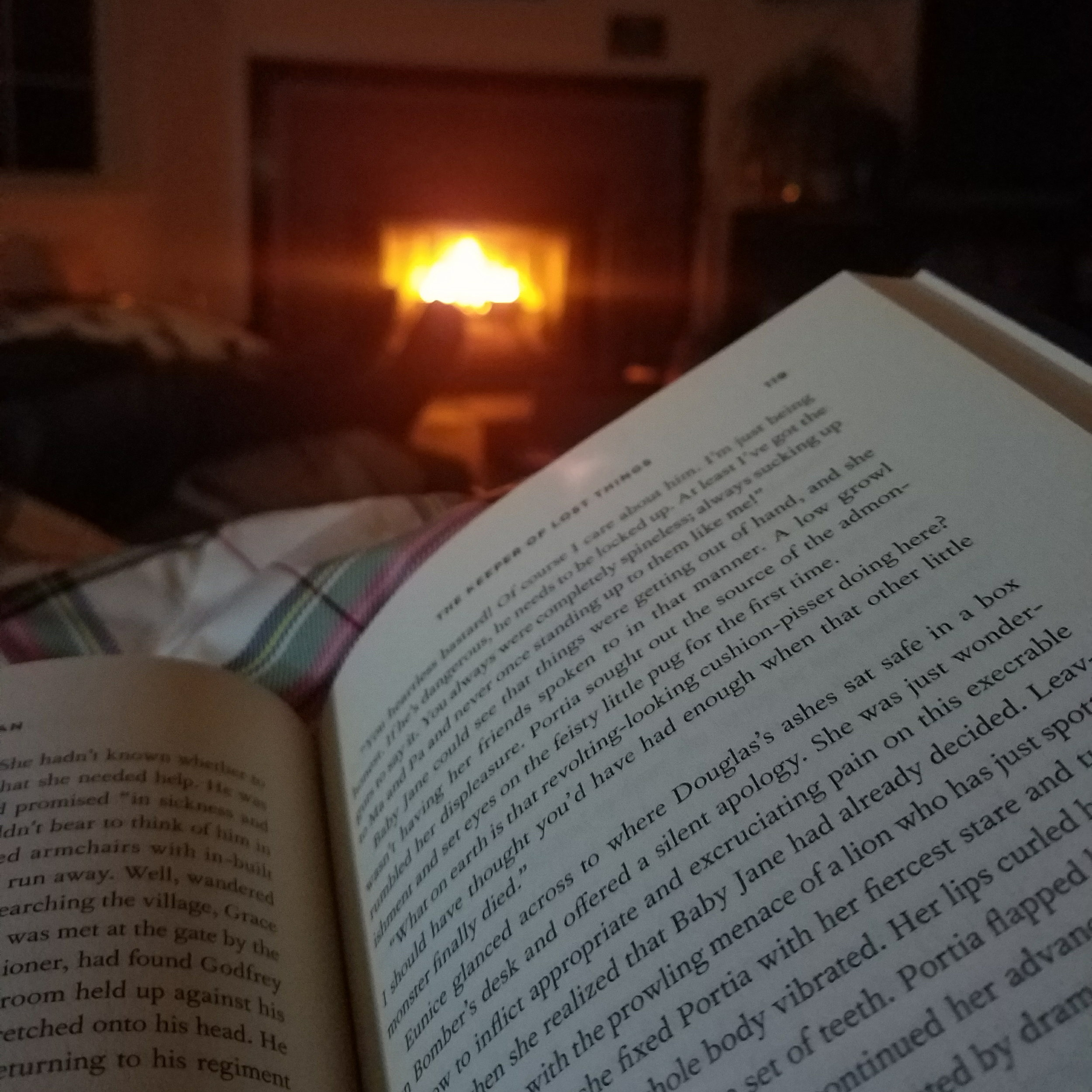 Reading by the light of our lantern