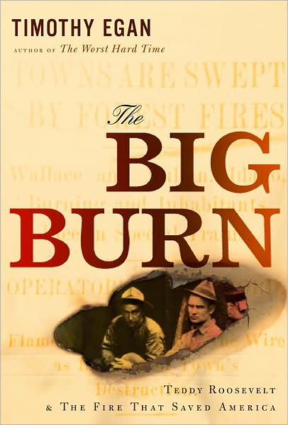 The Big Burn by Timothy Egan - On the afternoon of August 20, 1910, a battering ram of wind moved through the drought-stricken national forests of Washington, Idaho, and Montana, whipping the hundreds of small blazes burning across the forest floor into a roaring inferno that jumped from treetop to ridge as it raged, destroying towns and timber in the blink of an eye. Forest rangers had assembled nearly ten thousand men  —  college boys, day workers, immigrants from mining camps  —  to fight the fire. But no living person had seen anything like those flames, and neither the rangers nor anyone else knew how to subdue them.