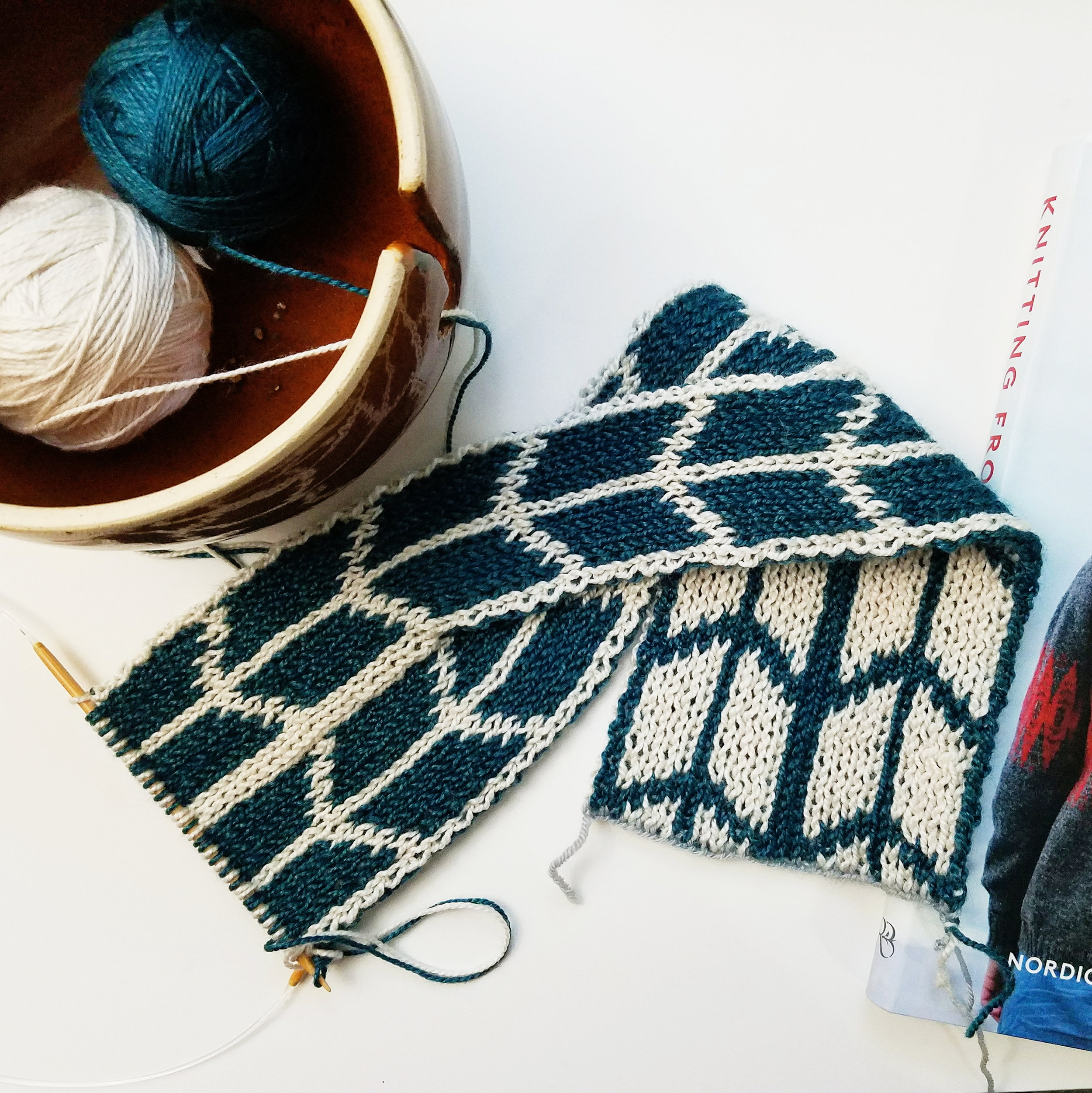 Knitting up a quick earwarmer using a new (and outrageously cool) technique to produce reversible knits