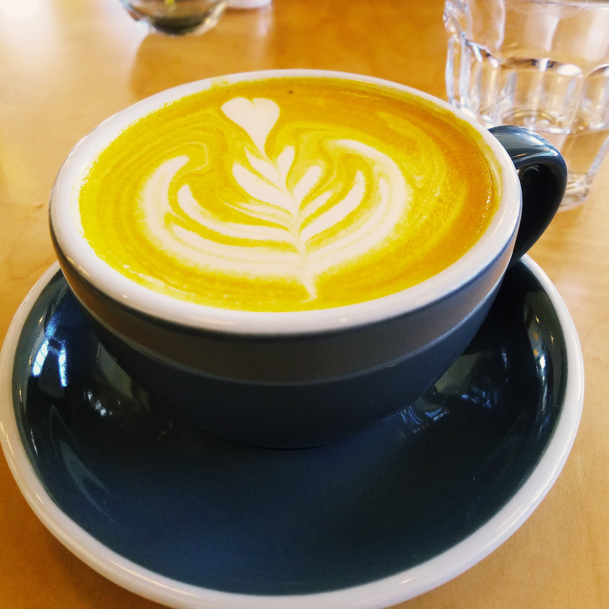The tumeric-ginger latte at  Camber is colorful  and delicious!