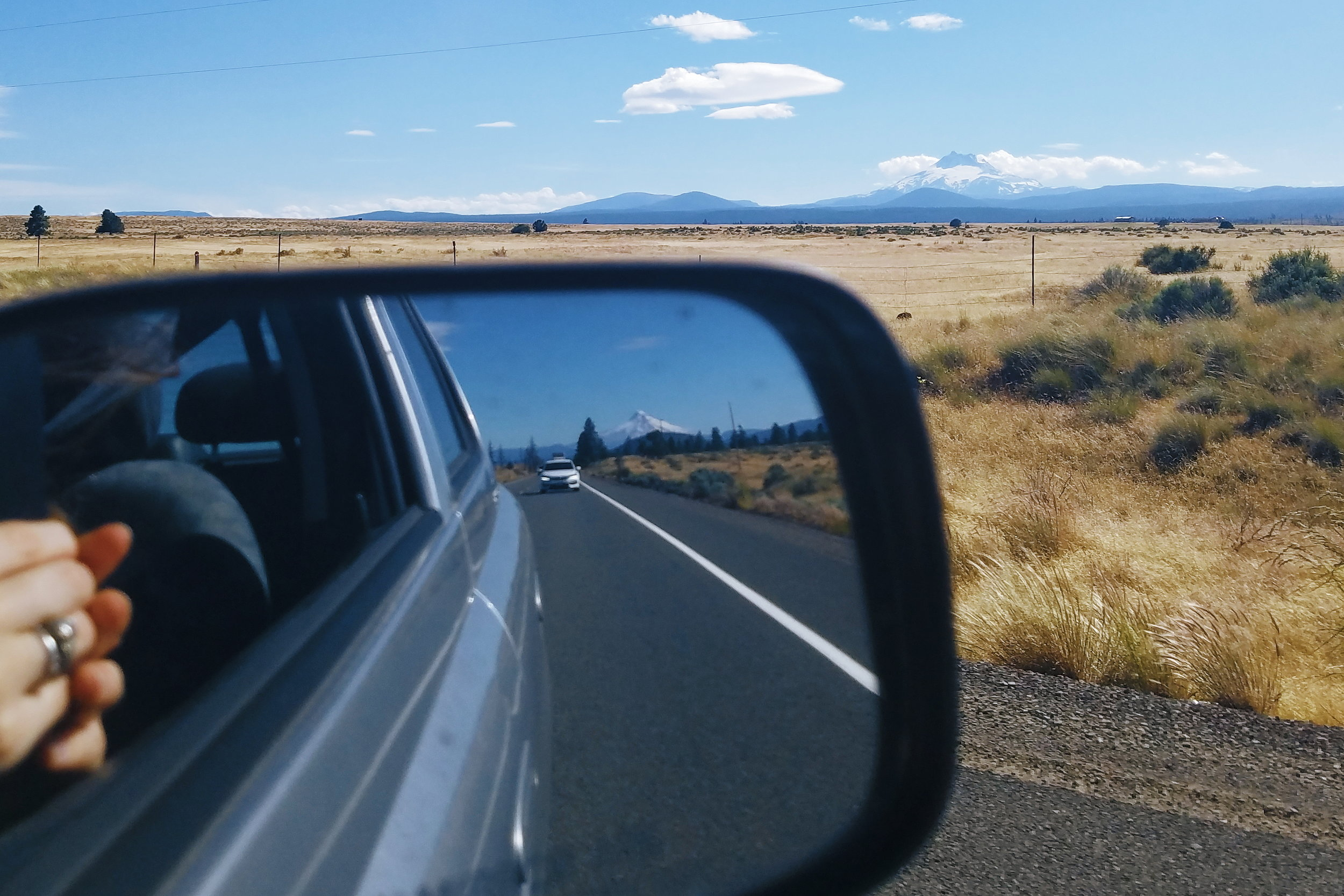Mt Jefferson out the window and Mt Hood in the mirror!