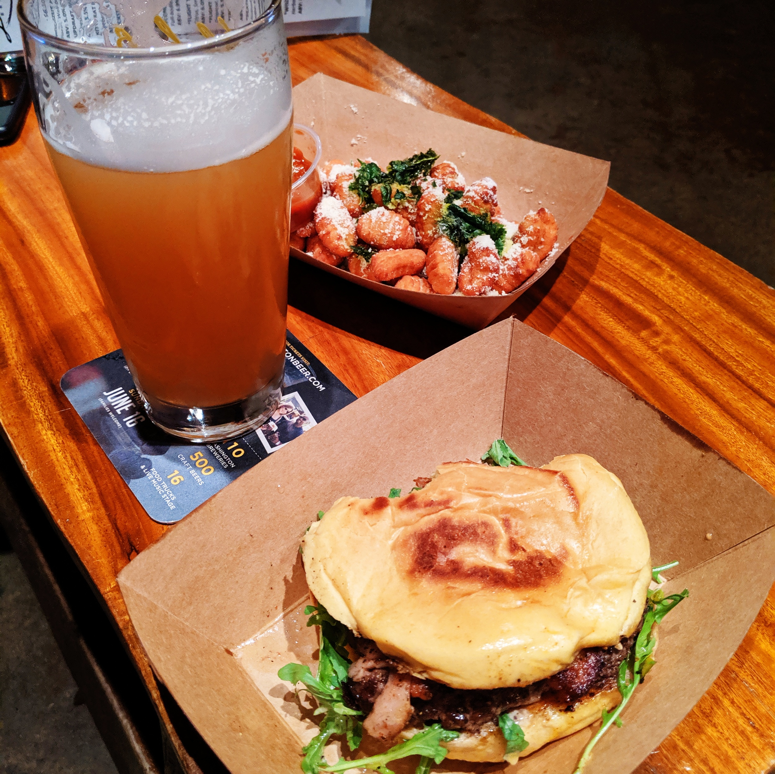 Burgers, beer, and gnocchi tots from a new food truck at an old favorite brewery!