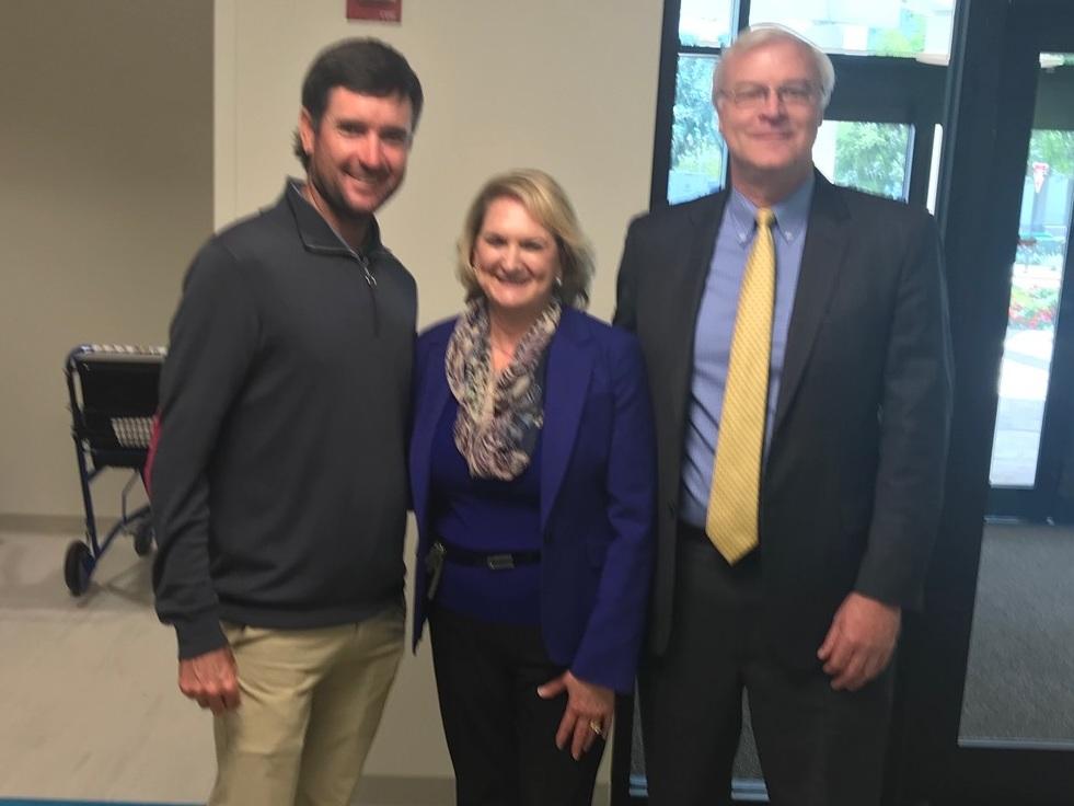 (L-R) Professional golfer Bubba Watson; Carol H. Carlan, President, Sacred Heart Foundation; Allen O'Keefe, Senior Vice President, Ghiorsi & Sorrenti, Inc.