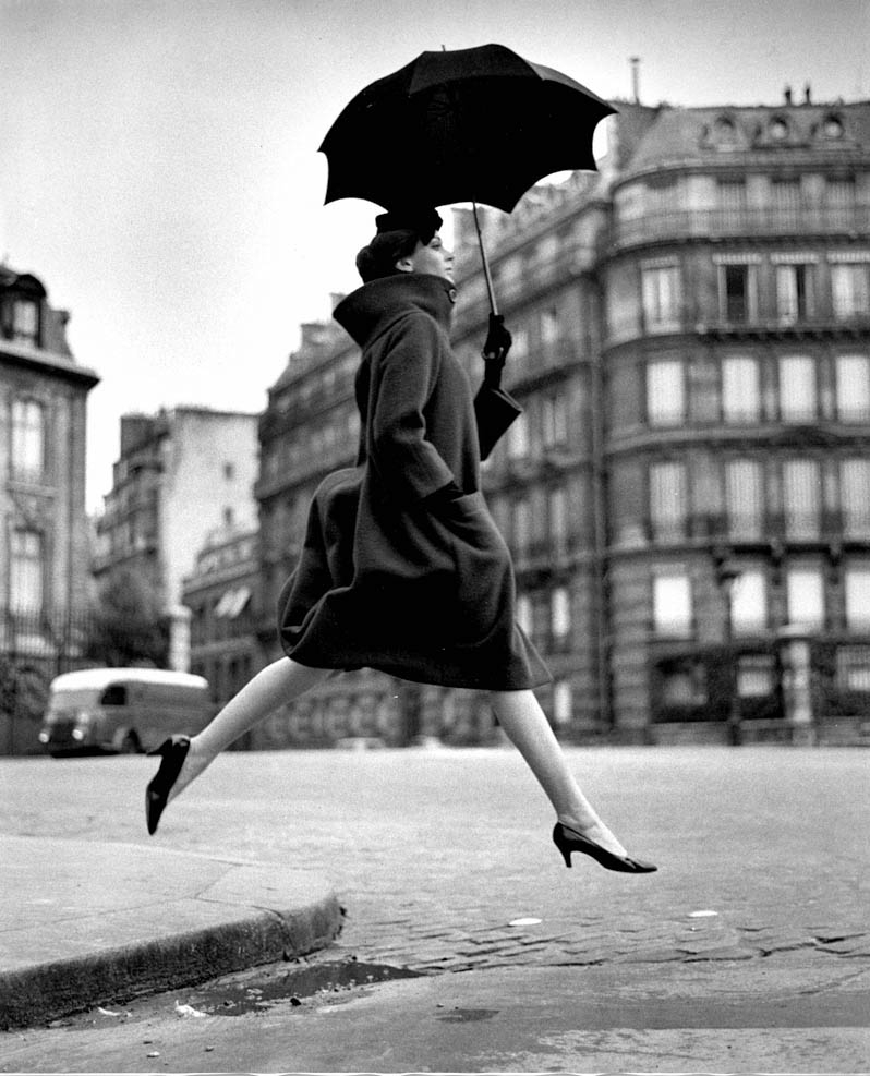 Carmen (Homage to Munkacsi) Coat by Cardin, Place Francois-Premier, Paris, August, 1957