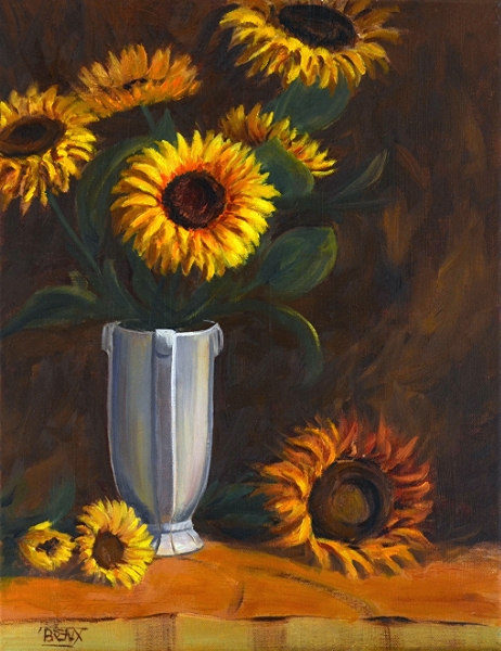 """Grandma's Vase with Sunflowers"""