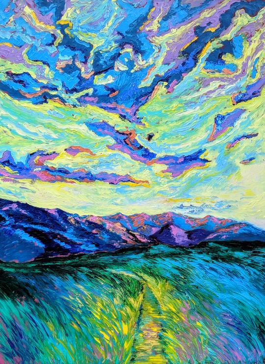 """""""Luminous Summits"""" - Oil on Wood Panel - Handmade Frame - $1725.00"""