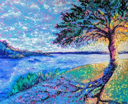"""Rising Love"" - 39"" x 42"" - Oil on Canvas - Handmade Frame - $1345.00"