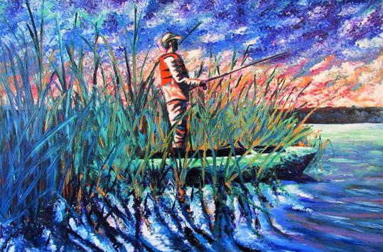 """Rain and Tackle"" - Oil on Wood Panel - Handmade Frame - $5200.00"