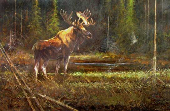 """Moose"" - Acrylic on Board - Framed - $15,000"