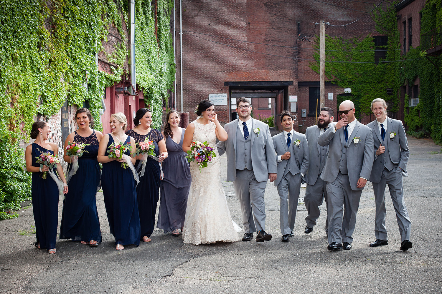 wedding party mill 1 at open square wedding jp langlands photography