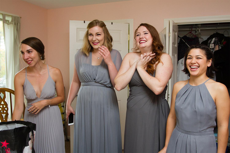 happy bridesmaids jacob's pillow wedding jp langlands photography