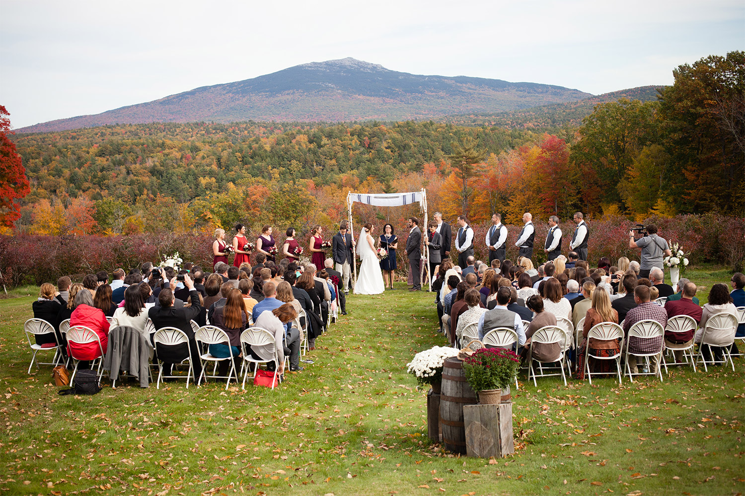 fall ceremony site at monadnock berries wedding jp langlands photography