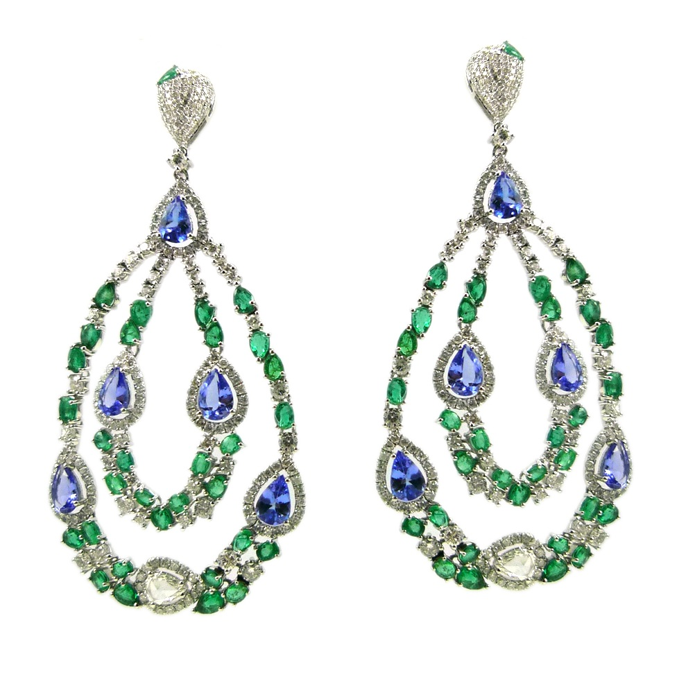 Stones:   -White Diamond Round Full Cut  -Emerald  -Tanzanite  -White Diamond Pear Rose Cut