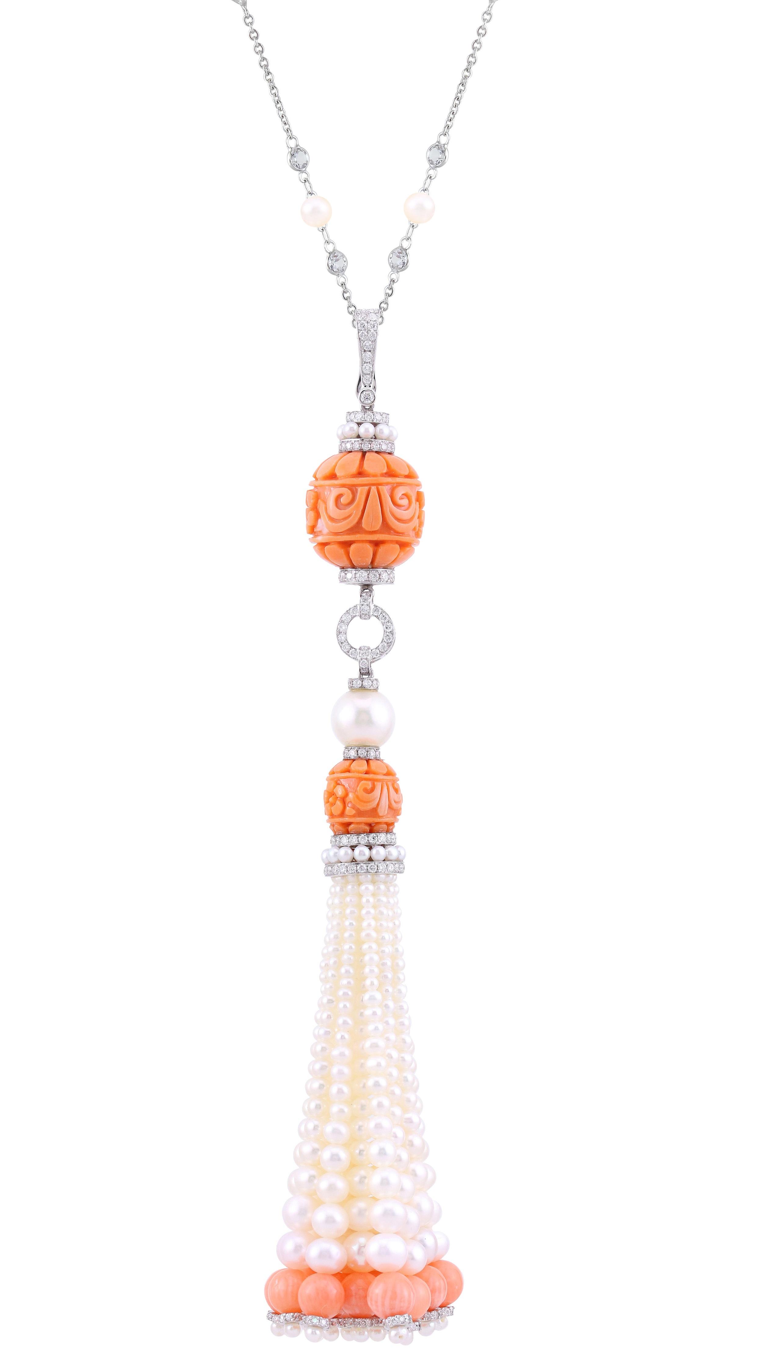 Stones:   -White Diamond Round Full Cut  -Peach Coral  -Pearl  -White Topaz