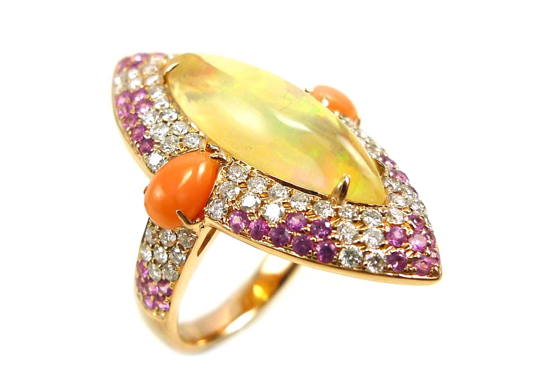 Stones:   -White Diamond Round Full Cut  -Ethiopian Opal  -Peach Coral  -Pink Sapphire