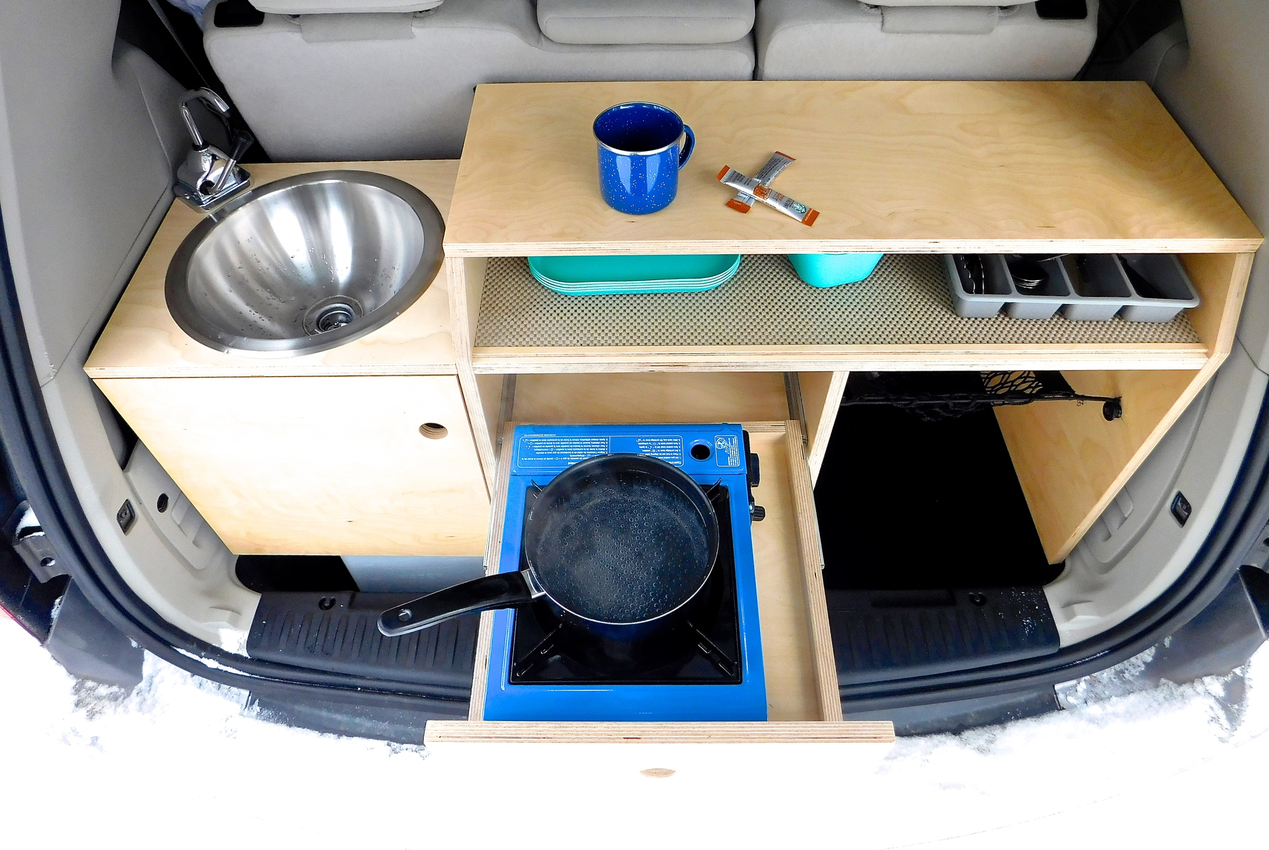 Kitchen Setup in the OG Campervan