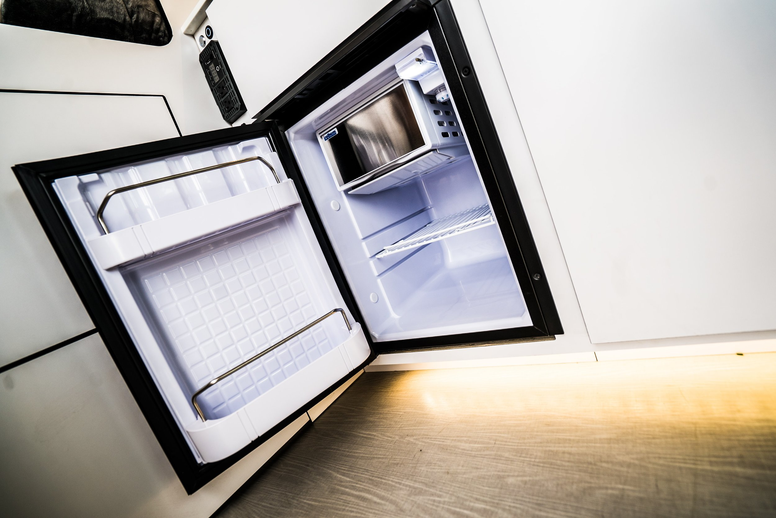 Refrigerator in the Biggie Campervan