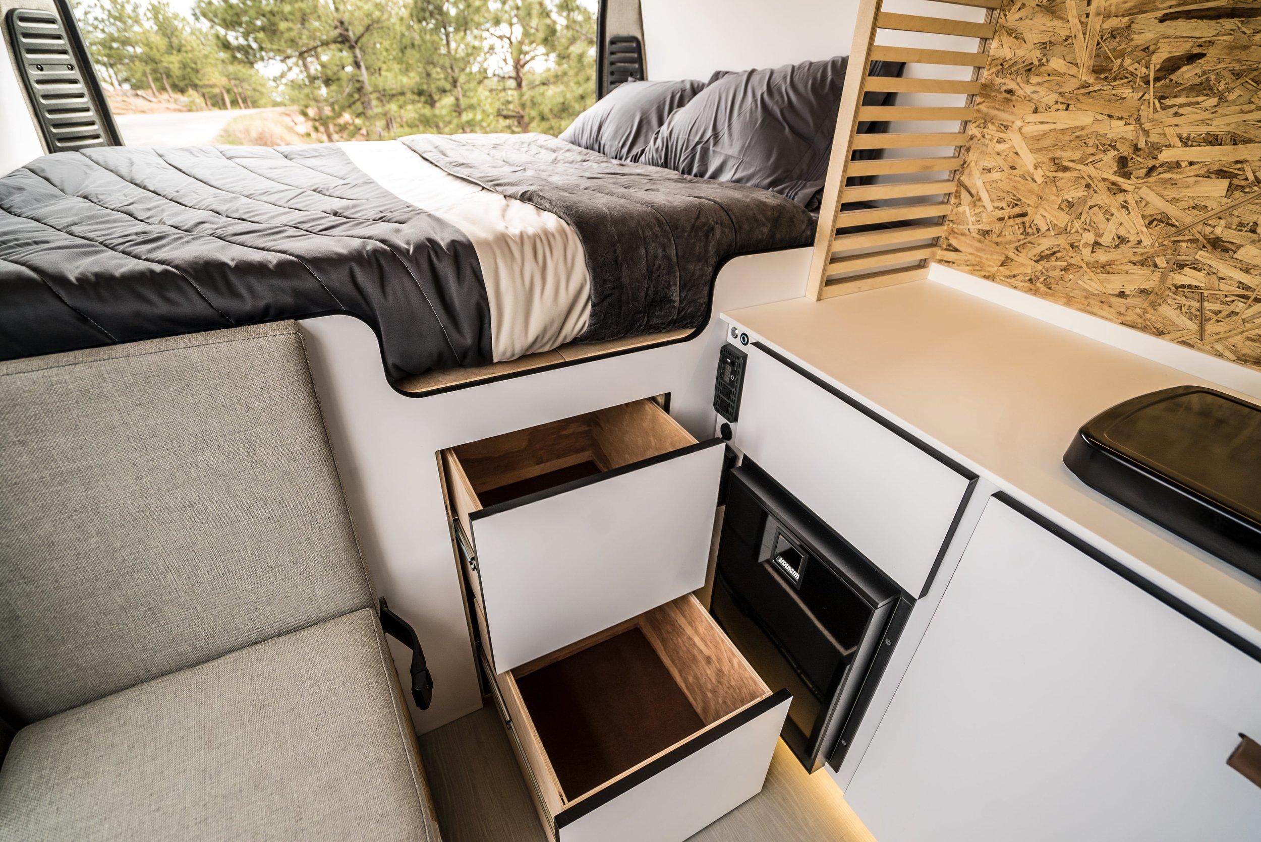 Storage Drawers in the Biggie Campervan