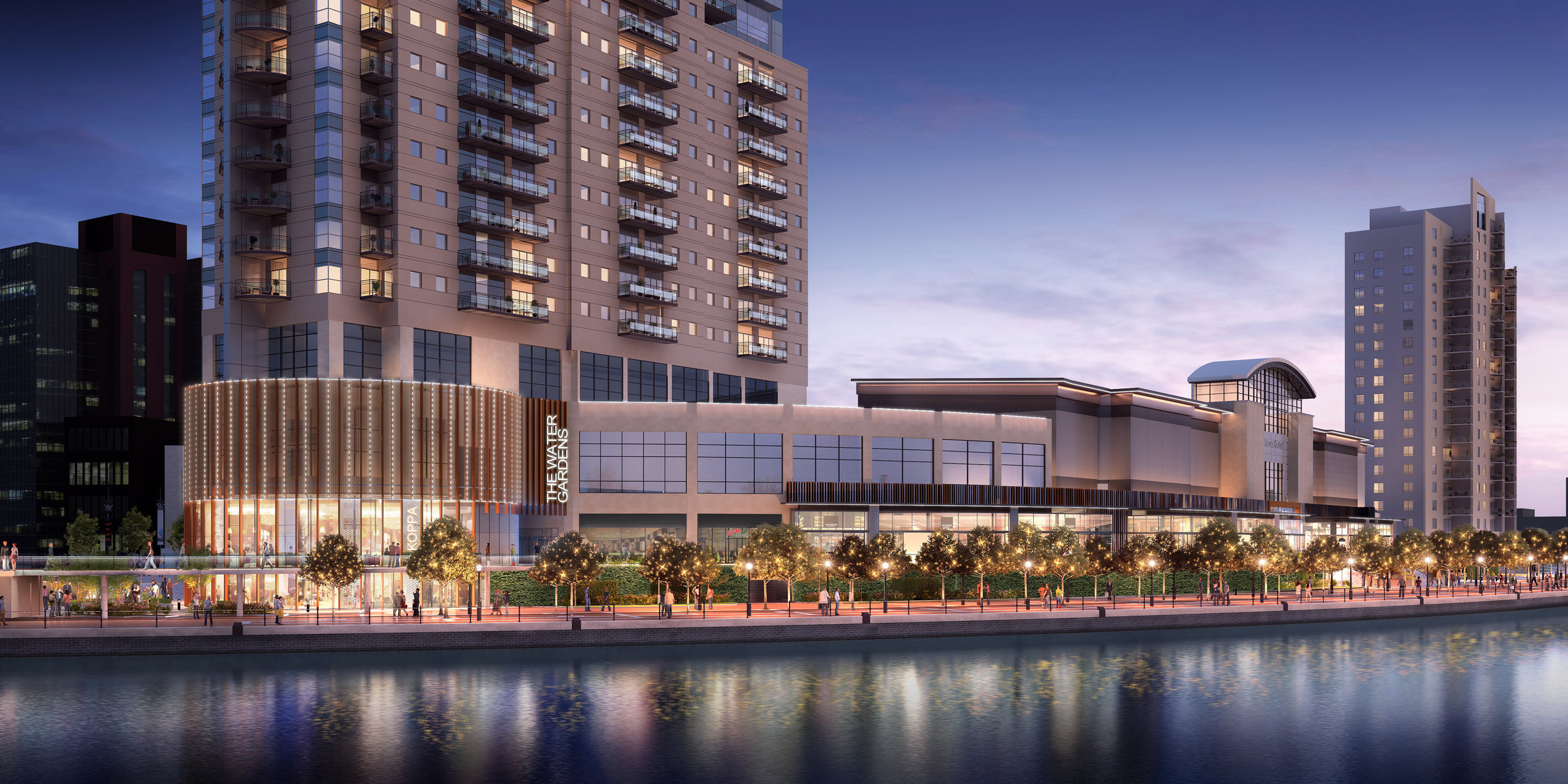 CGI image of 'The Watergardens' development