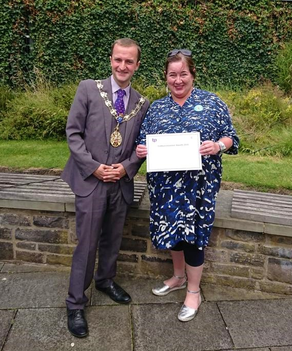 Jo Robertson pictured with the Mayor of Trafford