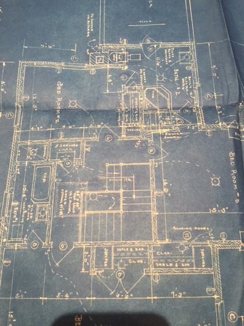 The original blueprints for the house, 1949