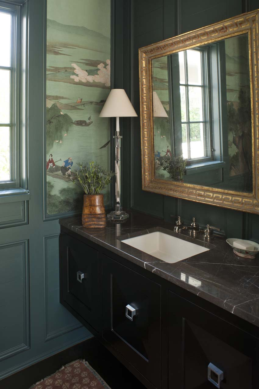 Don't worry---we re-used the Chinese panels in the new powder room (Photo: Josh GIbson)