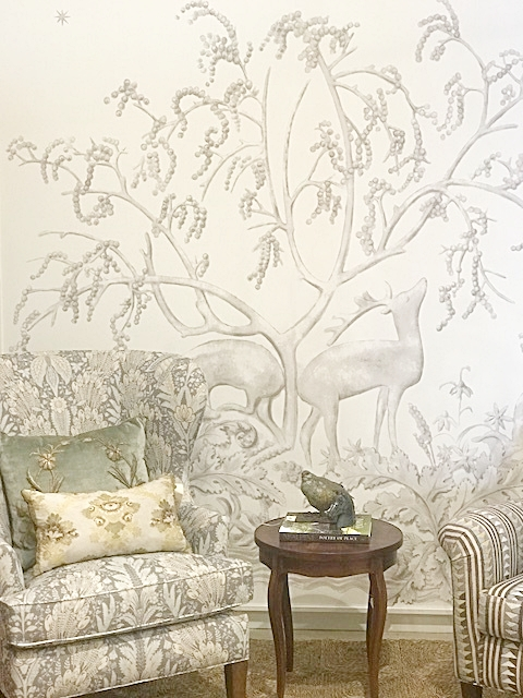 The Sika Wallpaper and Hawksmoor fabric on the wing chair from Lewis and  Wood