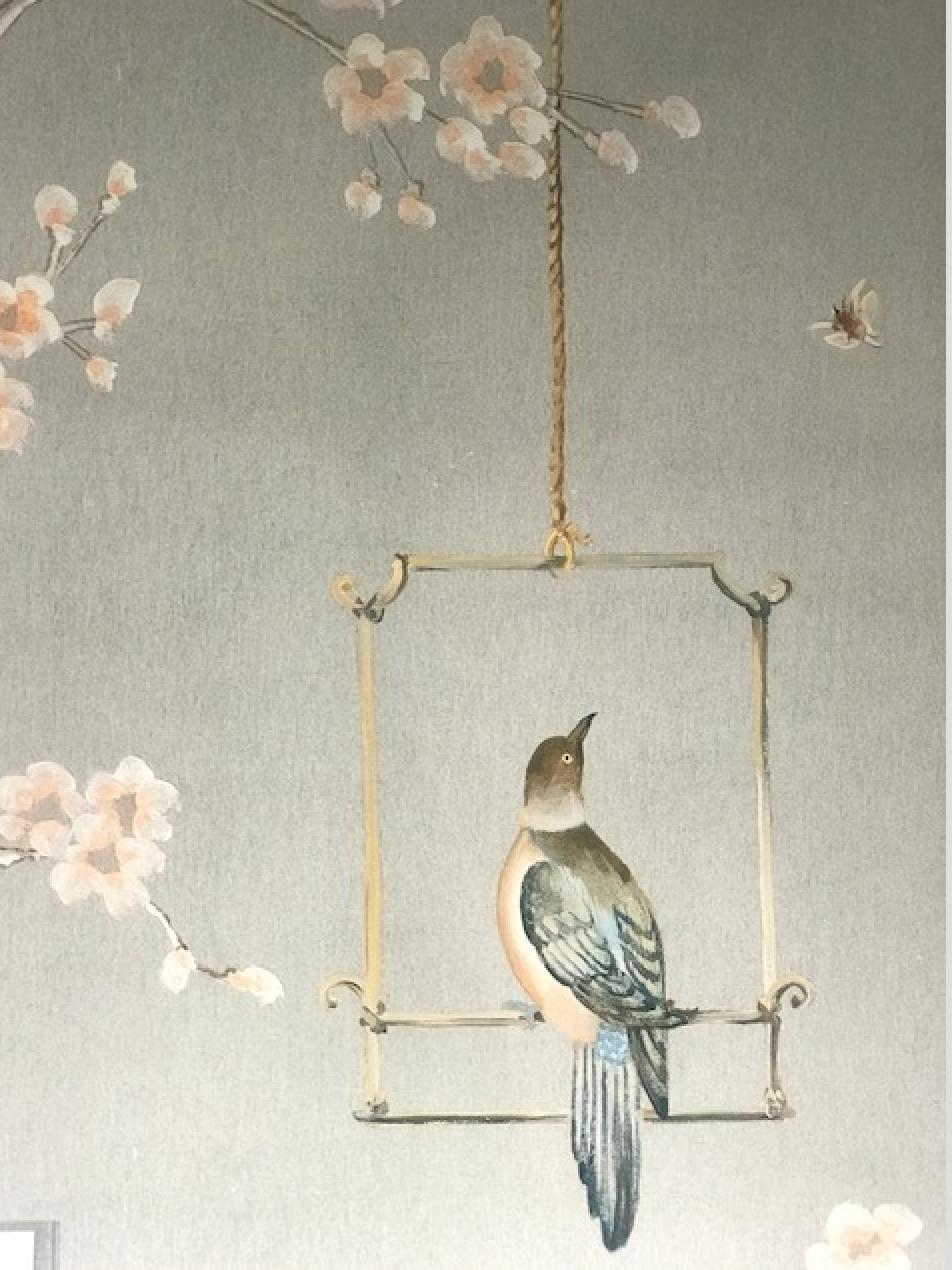 "Zoe Designs ""Chinoie"" wallpaper in color Pearl, available through FP Showroom"