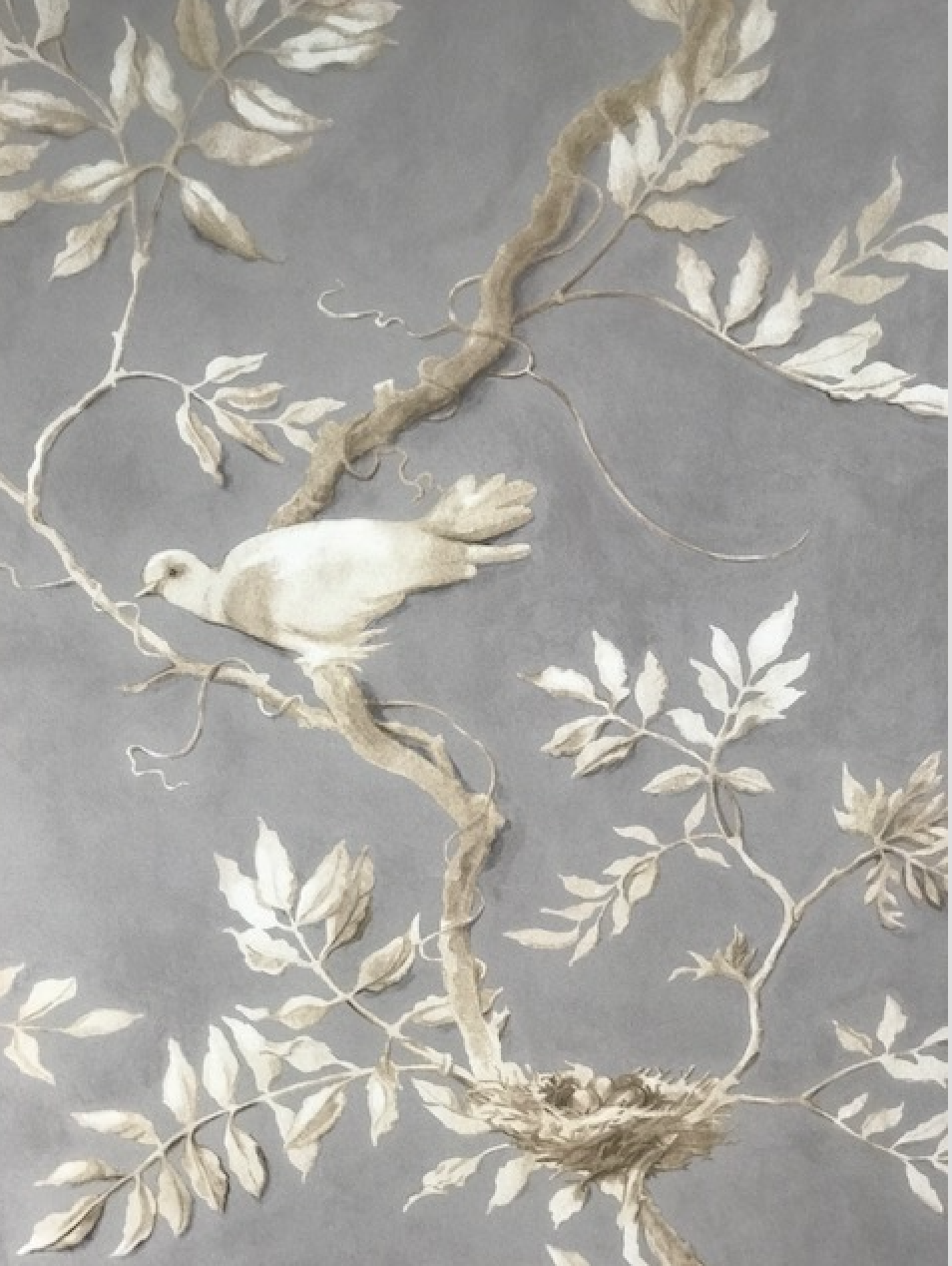 "Lewis and Wood ""Doves"" wallpaper in color Thunder"