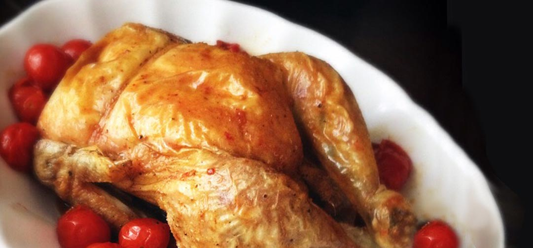 Roasted Chicken with Tomatoes: Organic whole chicken, grape tomatoes - Sweet Science Nutrition & Wellness, Healthy Sobriety with health coach Elena Skroznikova