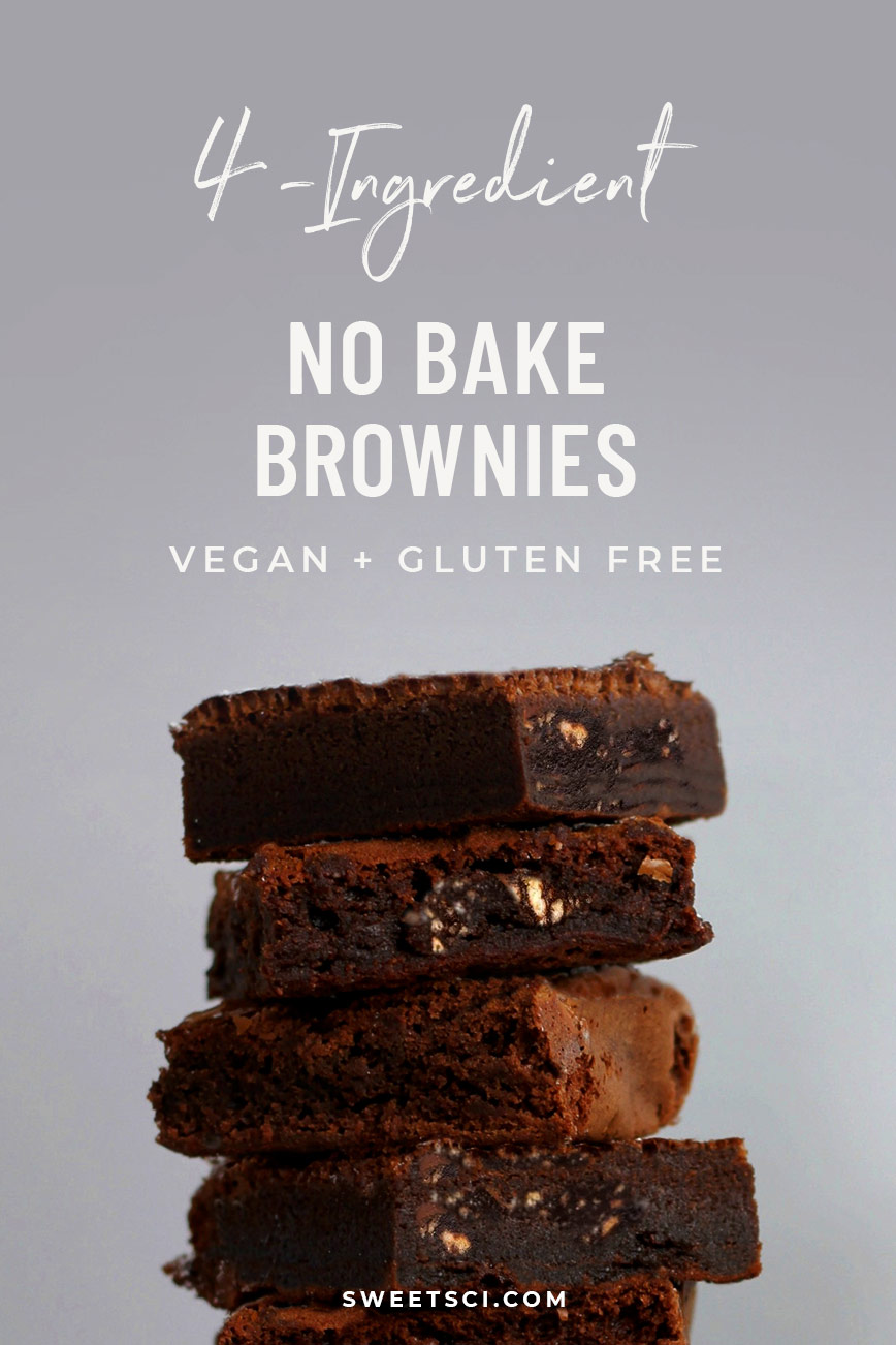 No-Bake Brownies Recipe: Vegan, Gluten and Sugar Free. Just mix and eat! - Sweet Science Nutrition & Wellness, Healthy Sobriety with health coach Elena Skroznikova