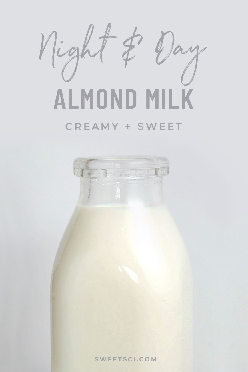 Night & Day Almond Milk Recipe: Raw almonds, date OR honey or maple syrup, vanilla, sea salt, coconut oil - Sweet Science Nutrition & Wellness, Healthy Sobriety with health coach Elena Skroznikova