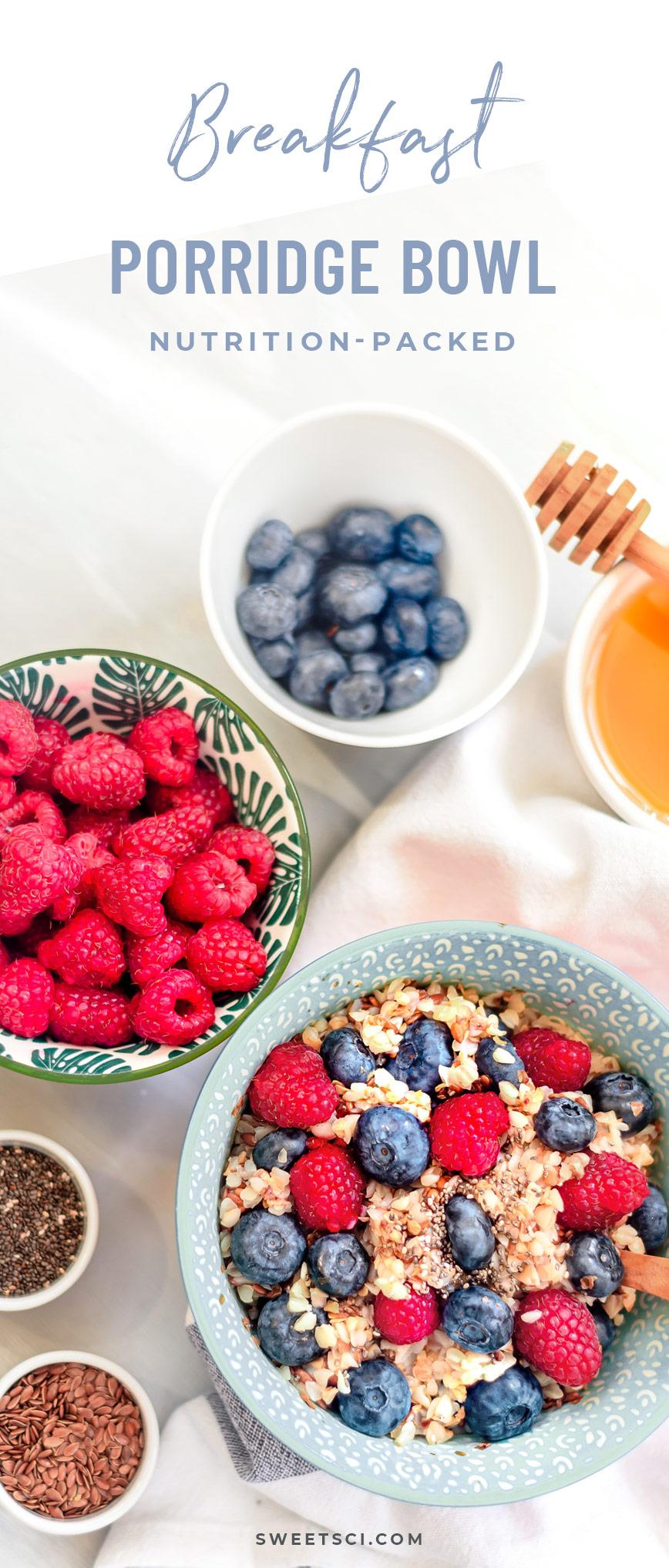 Breakfast Porridge Bowl Recipe: Grains - buckwheat, quinoa, brown rice, oats… raisins, berries, nuts, seeds; coconut flakes; dash of cinnamon or raw honey - Sweet Science Nutrition & Wellness, Healthy Sobriety with health coach Elena Skroznikova - Healthy Breakfast, Easy Recipe, Healthy Recipe, Healthy Breakfast Recipe, Healthy Breakfast Bowl