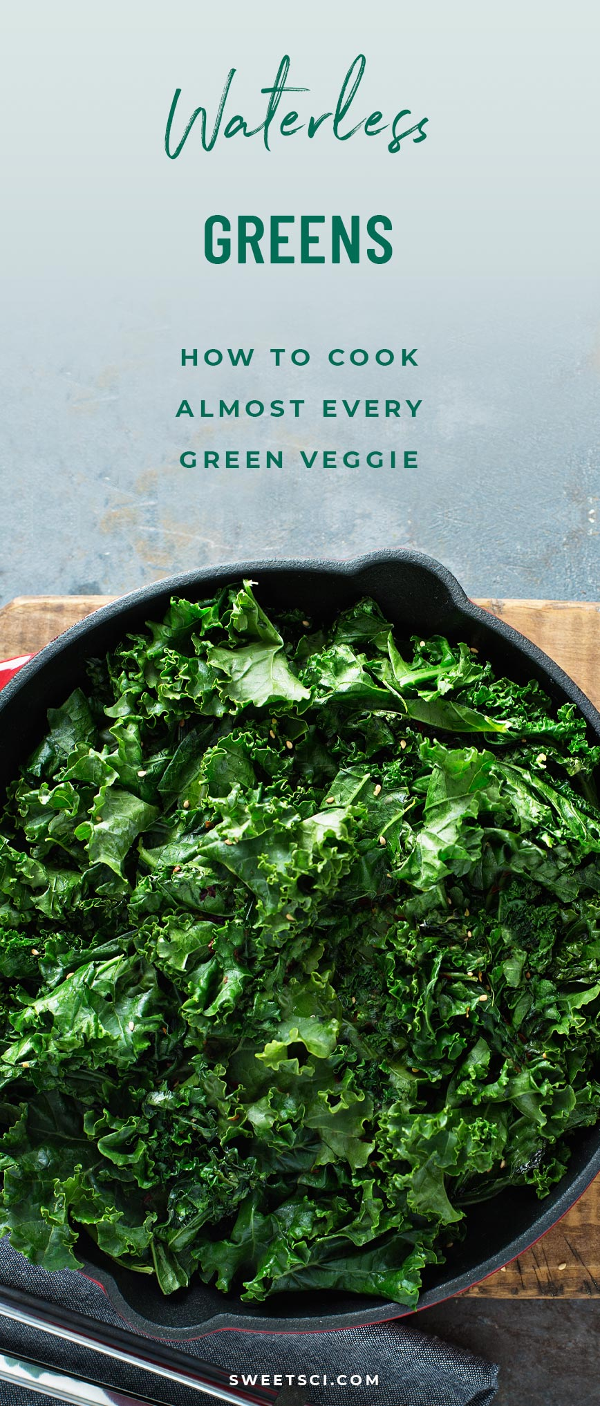 Waterless Greens Recipe: kale, broccoli, asparagus, brussels sprouts, water, sea salt, how to cook veggies - Sweet Science Nutrition & Wellness, Healthy Sobriety with health coach Elena Skroznikova