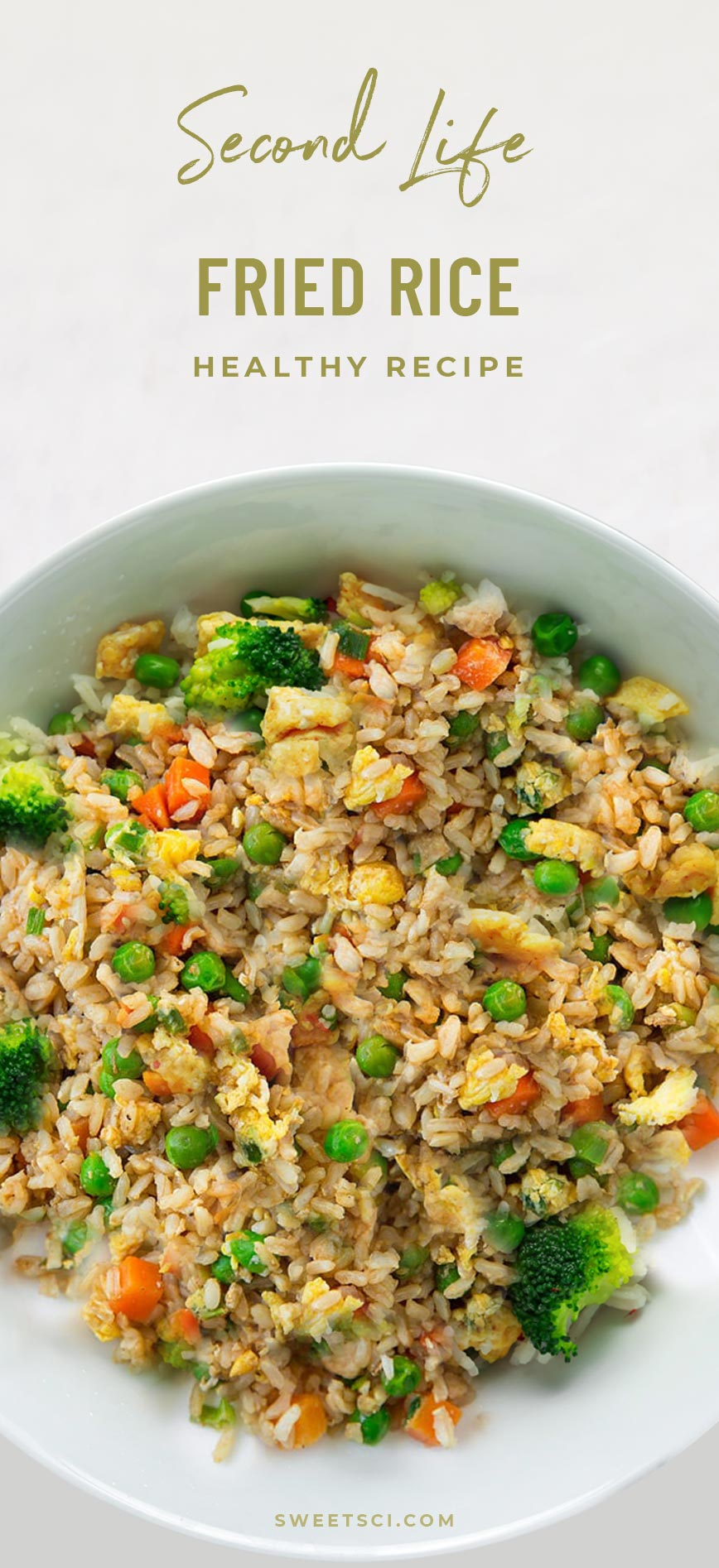 Second Life Healthy Fried Rice Recipe: Leftover (or freshly cooked) Brown or Wild Rice, Eggs, Onion, Garlic, Veggies, green peas, Untoasted sesame oil, Tamari (wheat-free soy sauce) to taste - Sweet Science Nutrition & Wellness, Healthy Sobriety with health coach Elena Skroznikova