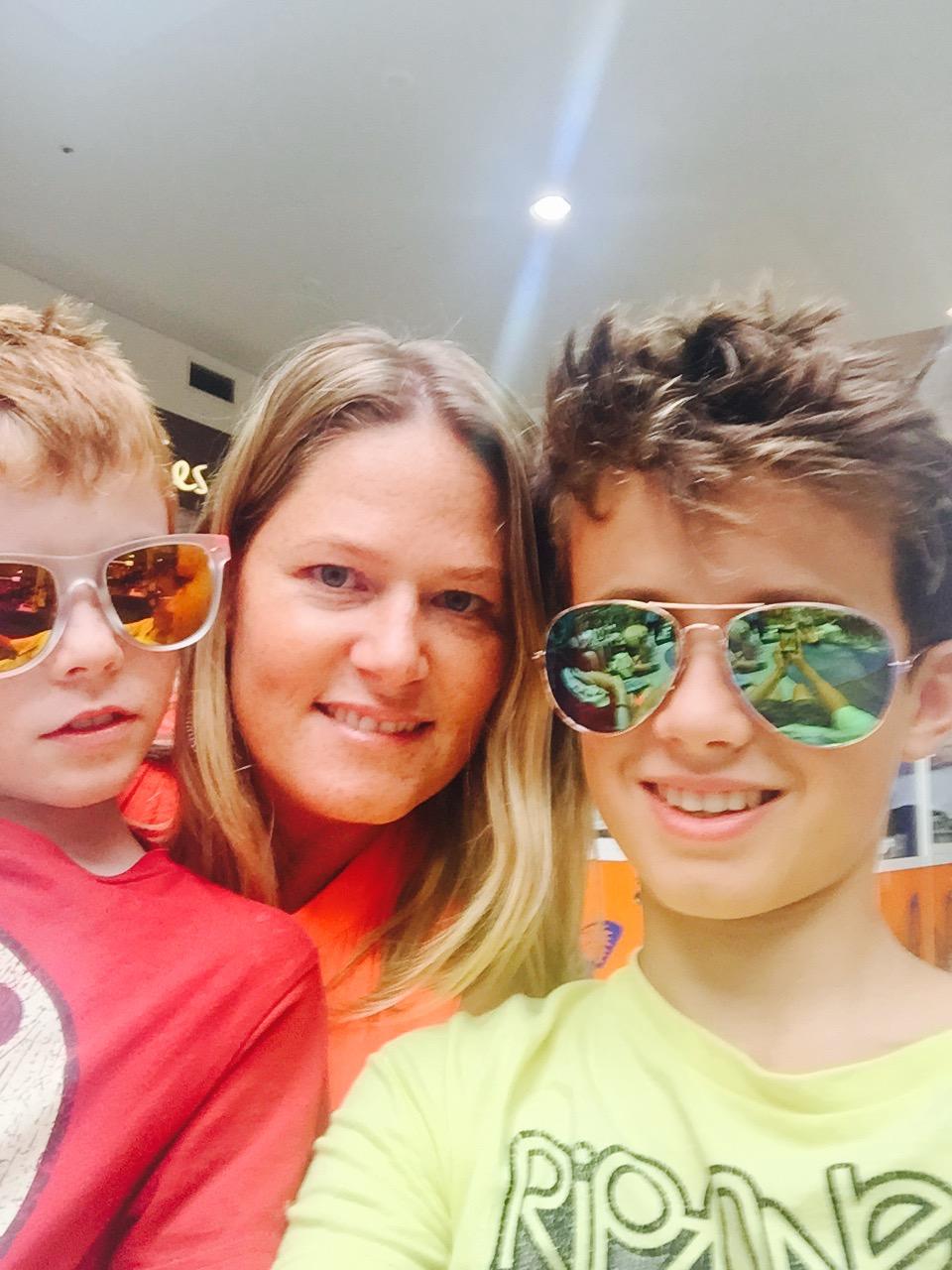 Aunt Jo-Jo bought the boys sunglasses.