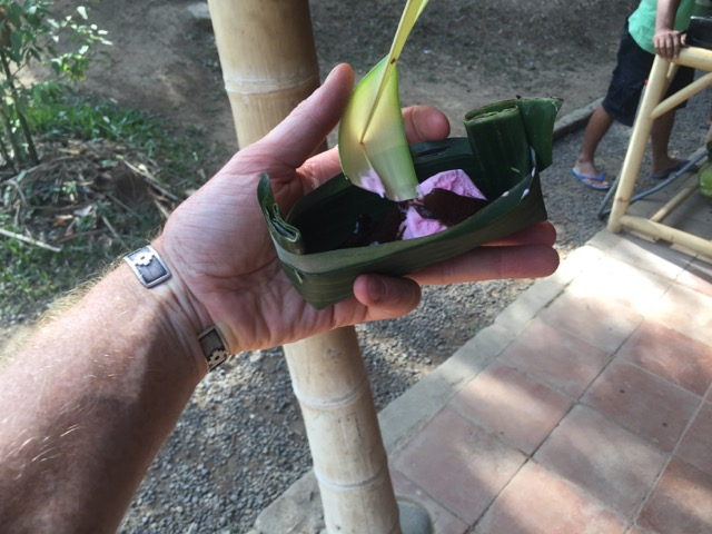 our bowl and spoon - made out of banana leaves
