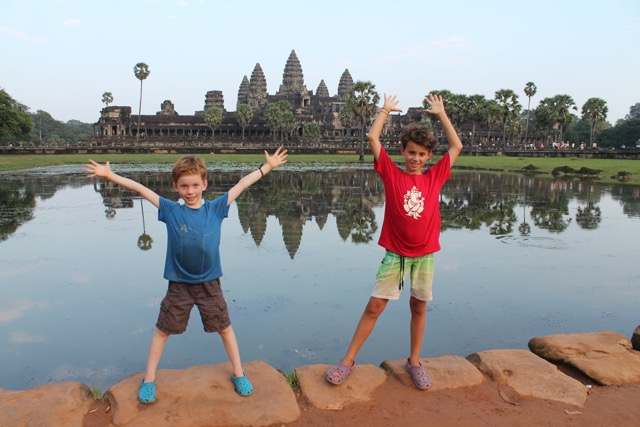 One of the best spots to take photos, with Angkor Wat reflecting in the water.