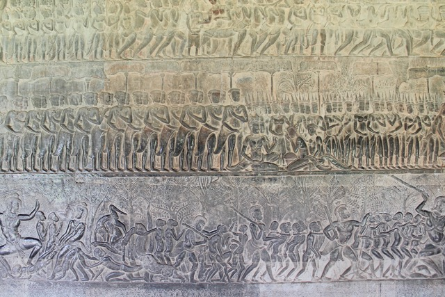 Hand sculpted drawings on the walls, representing many Hindu mythological stories.