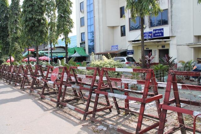 Barricades around a voting station