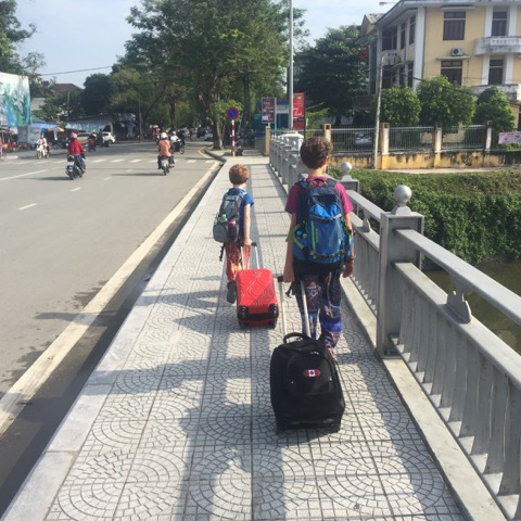 Walking to our hotel in Hue