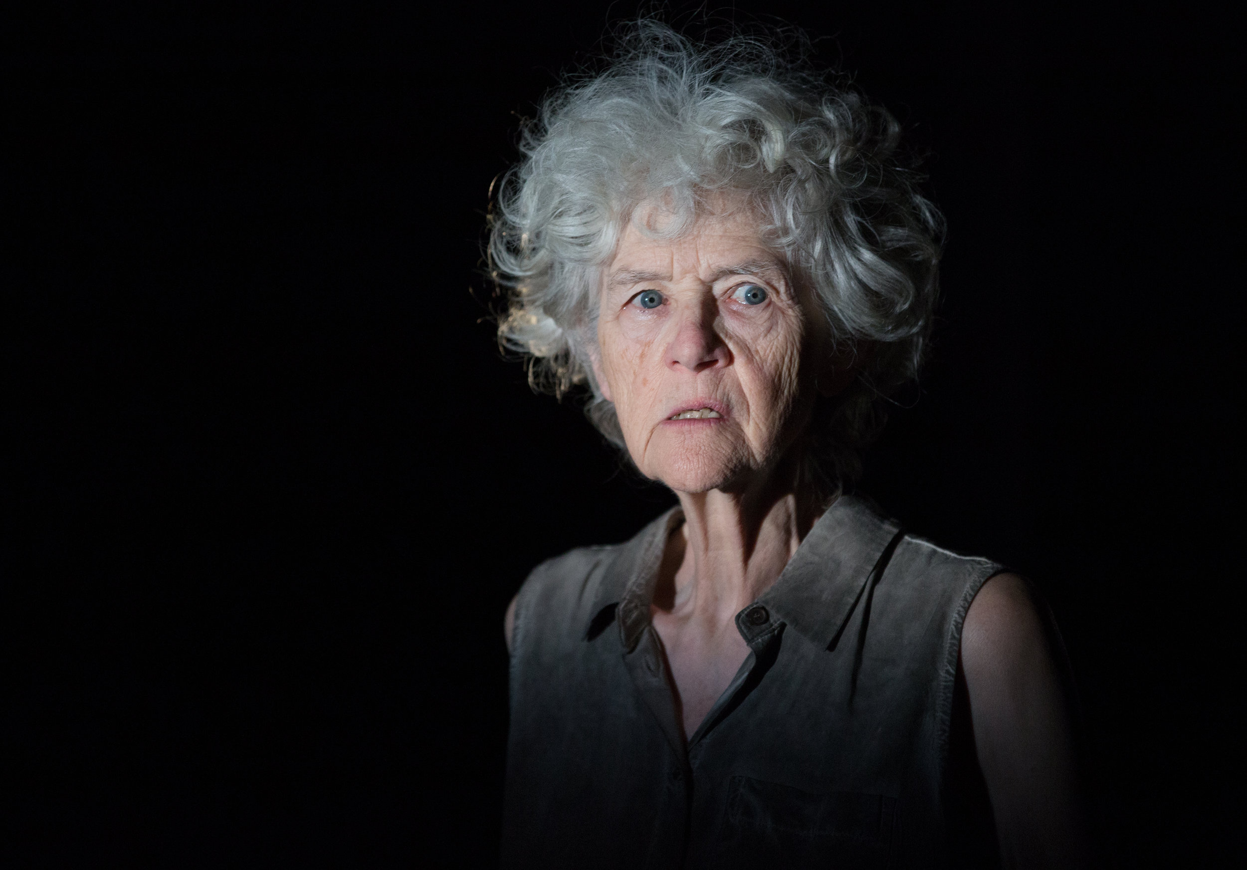 CLARE COULTER IN ESCAPED ALONE.  PHOTO COURTESY OF SOULPEPPER THEATRE