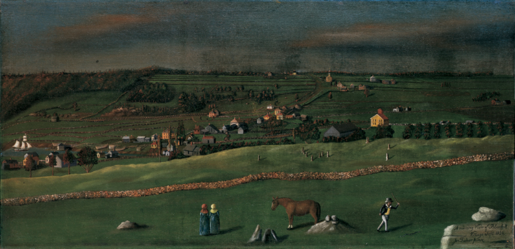 A Morning View of Blue Hill Village, Jonathan Fisher, 1824